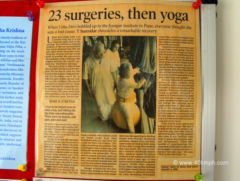 Newspaper Article on Yoga after Surgery