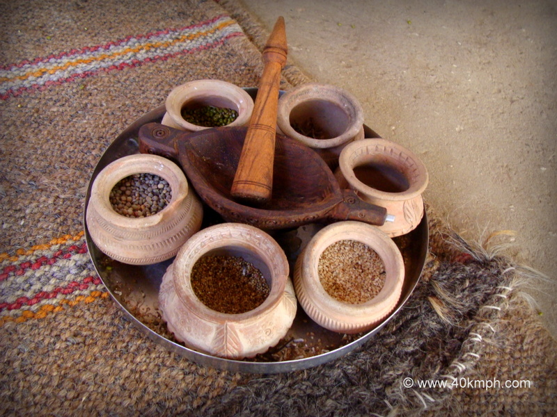 Homemade Traditional Wooden Rajasthani Mortar and Pestle also Known as Khad or Ghota