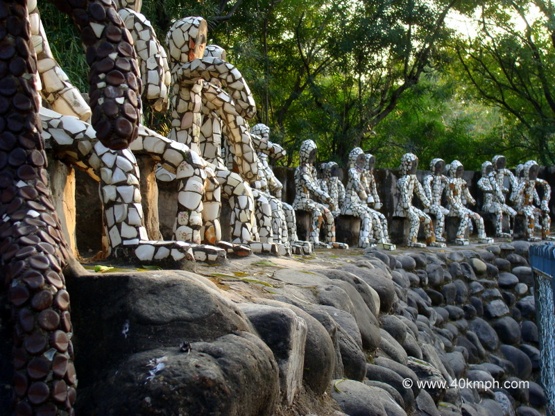 Sitting Sculptures Made of Crockery and Bottle Caps at Rock Garden, Chandigarh