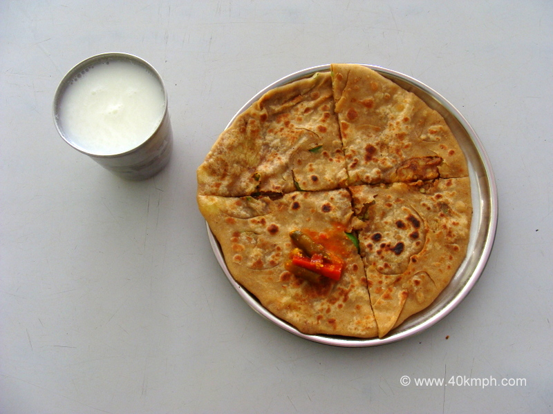 Aaloo Paratha with Chaas for Breakfast