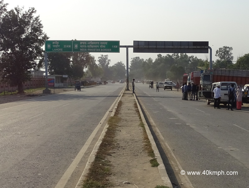Distance from Wagah Border (Punjab) to Lahore