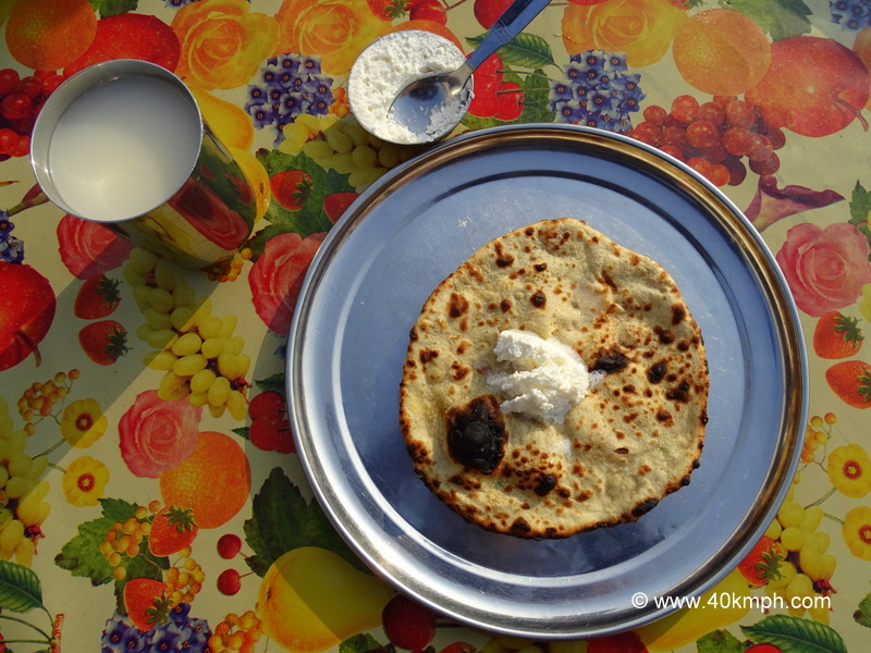 Aloo Pyaz Paratha with White Butter as Breakfast