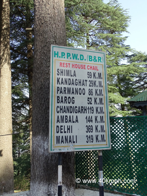 Distance from Chail (Himachal Pradesh) to various Tourist Places